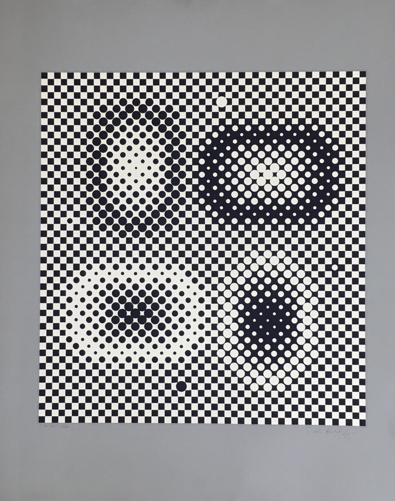 Victor Vasarely Op Art Signed Limited Edition Mid Century Era Print For Sale 3