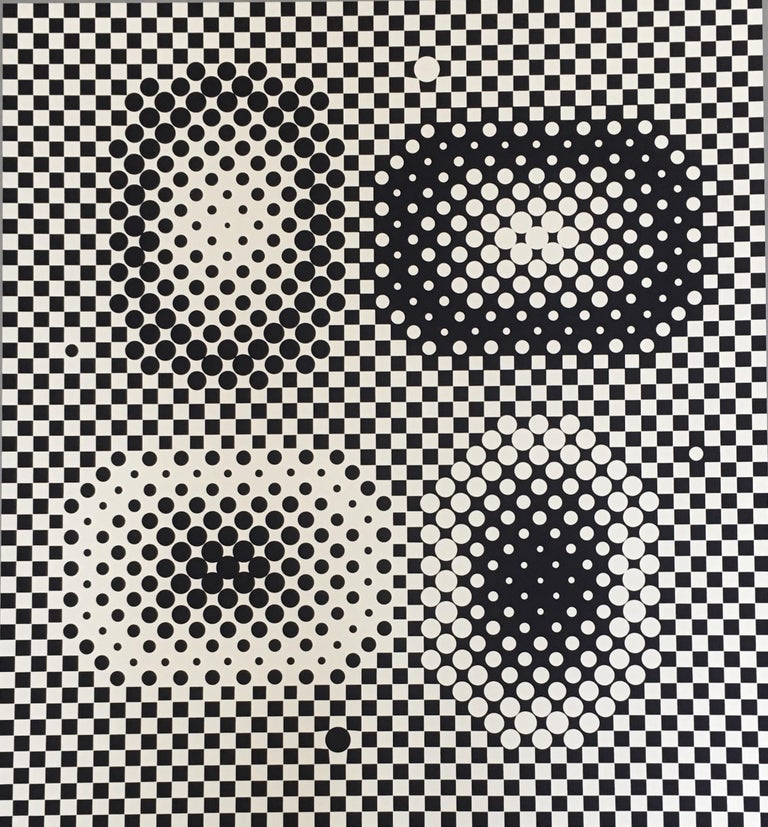 Victor Vasarely Op Art Signed Limited Edition Mid Century Era Print - Beige Abstract Print by Victor Vasarely
