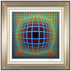 Victor Vasarely Original Screenprint Hand Signed Modern Illusion Titan B Framed