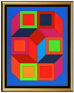 Victor Vasarely Rare Color Silkscreen Large XICO Signed Modern Illusion Artwork