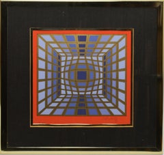Vintage Signed and Numbered Op Art Abstract Lithograph by Victor Vasarely