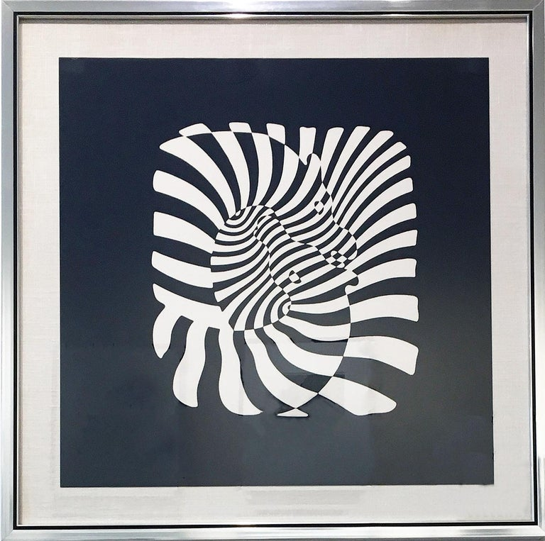 Zebra Heads (White on black) - Print by Victor Vasarely