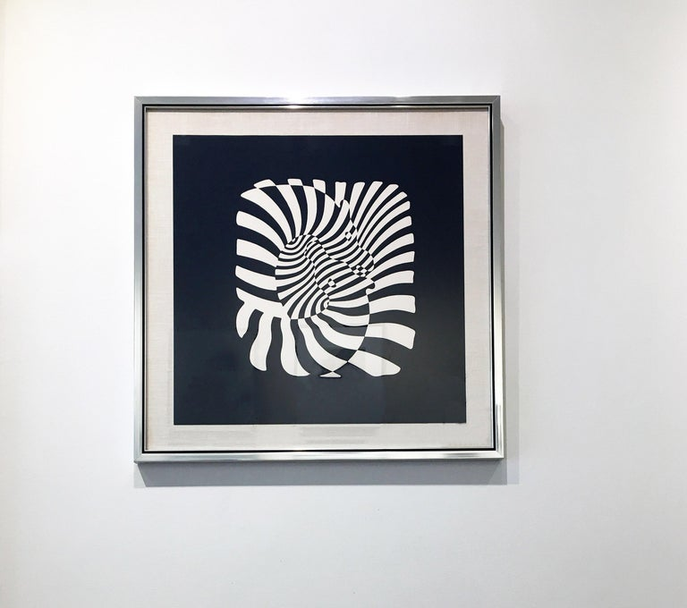 Zebra Heads (White on black) - Op Art Print by Victor Vasarely