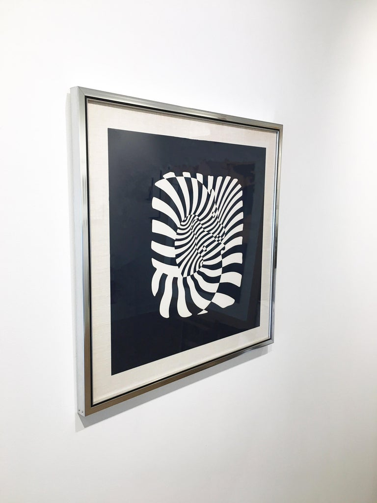 Zebra Heads (White on black) - Black Animal Print by Victor Vasarely