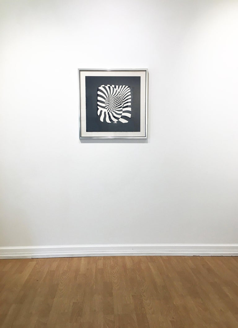 'Zebra Heads (White on black),' 1932-1942, by father of Op-art, Victor Vasarely. Serigraph, Ed. 15/120. Signed in pencil, 19.5 x 19.5 in. / Frame: 24.5 x 24.5 in. Utilizing white stripes on black paper that creates an illusion of movement, this