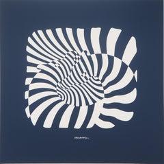 Zebras on blue background - Screen Print, 1975