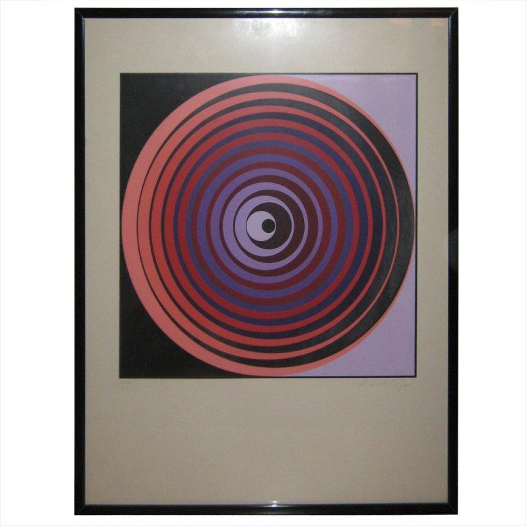Rare, small-edition op-art print from the Oervegn series of the mid-1960s, titled