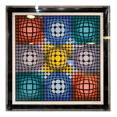 Victor Vasarely Signed and Numbered Serigraph in Lucite Box