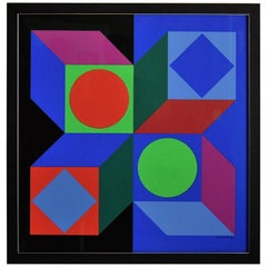 Victor Vasarely Signed Op Art Silk Screen Print