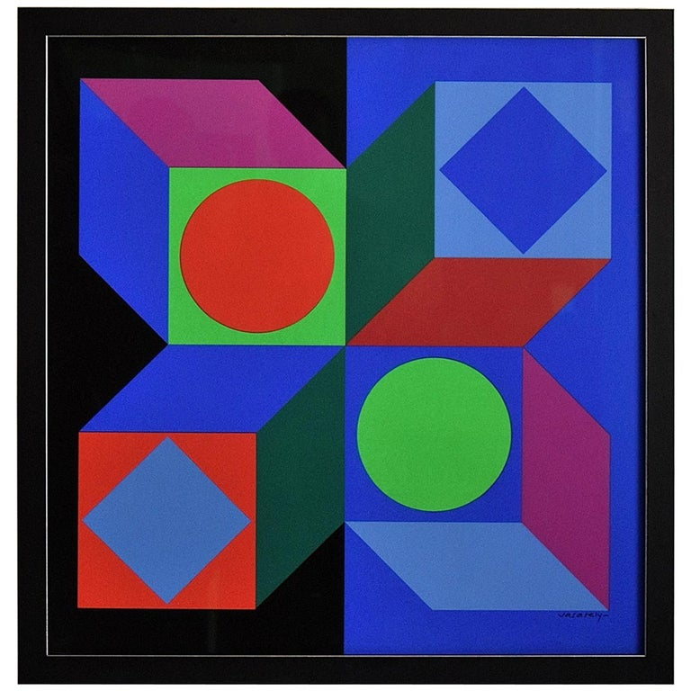 Victor Vasarely Signed Op Art Silk Screen Print For Sale At 1stdibs