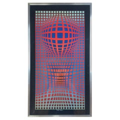 Victor Vasarely Signed Op Art Silk Screen Print