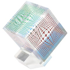 Victor Vasarely Silkscreened Acrylic Cube Sculpture