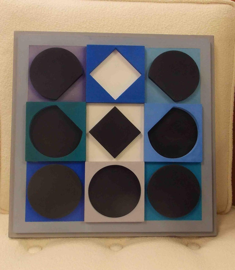 Wood wall sculpture by Victor Vasarely Artist Signed Denise Rene label on verso.