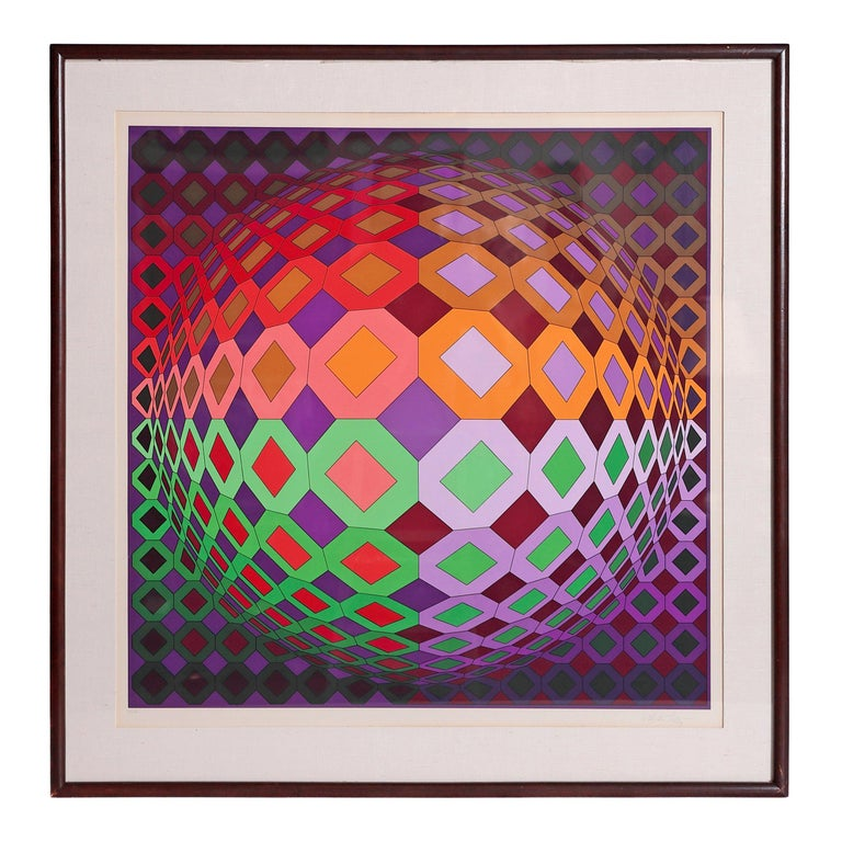 Victor Vasarely Vega-Dombokta '1978' Screenprint in Colors 45/250 For Sale