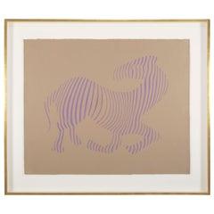 Victor Vasarely Zebra 'Purple-Tan' Screen Print