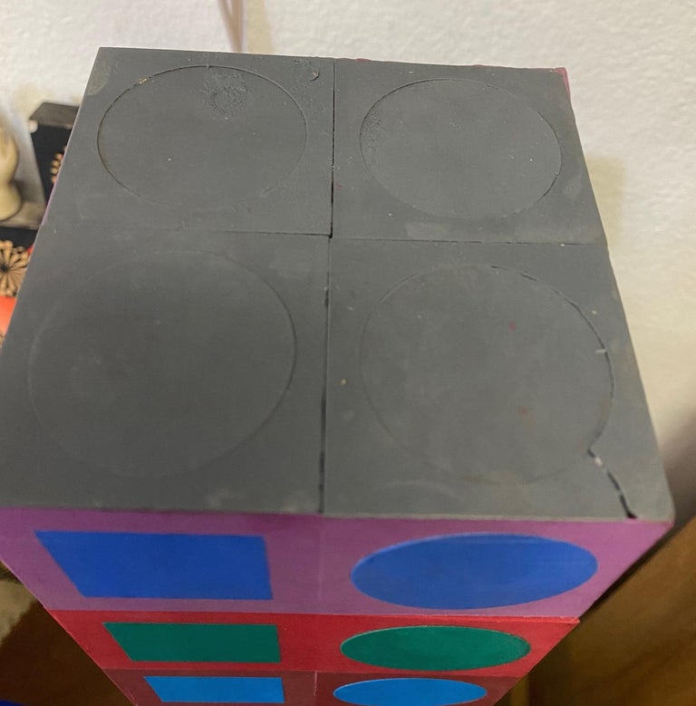 Wood Victor Vasarely Sculpture For Sale