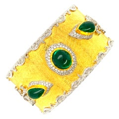Victor Velyan Colombian Cab Emerald and Diamond Bracelet in 24k and 18k Gold