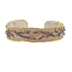 Victor Velyan Cherry Blossom Gold Silver Enamel Bracelet