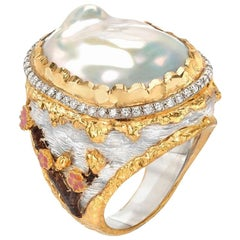 Victor Velyan Cherry Blossom Pearl Ring with White Diamonds in 24K Yellow Gold