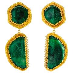 Victor Velyan Emerald and Diamond Earrings