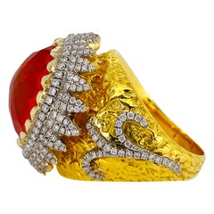 Victor Velyan Fire Opal and Diamond Ring