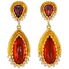 Victor Velyan Fire Opal, Spessartite and Diamond Earrings