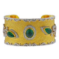Victor Velyan Gold Diamond Emerald Bracelet