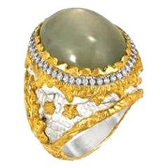 Victor Velyan Green Moonstone and Diamonds 24 Karat Yellow Gold Ring