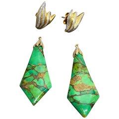Victor Velyan Green Turquoise Drop Detachable Earrings in 18 Karat Yellow Gold