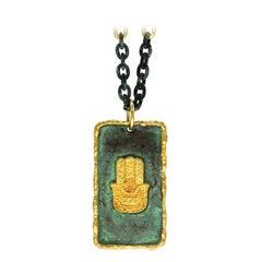 Victor Velyan Hand of God 24 Karat Yellow Pendant Necklace