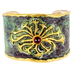 Victor Velyan Orange Sapphire Cuff in Green Patina