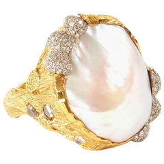 Victor Velyan Pearl, Diamonds and Moonstone Ring in 24 Karat Yellow Gold