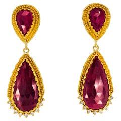 Victor Velyan Ruby and Diamond Earrings