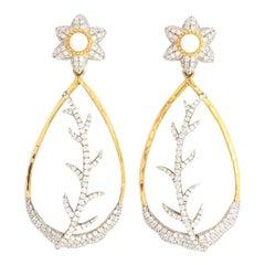 Victor Velyan 24K White Opal and Diamonds Teardrop Earrings