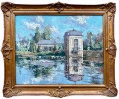 19th century Impressionist painting of a castle pond - Monet Paris Ducks Pond
