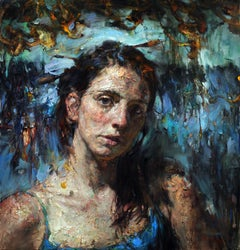 """Blue Reflection"", Contemporary Oil Painting on Canvas, Textured, Portrait"