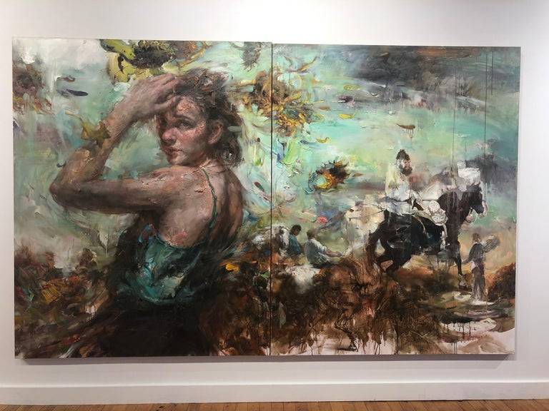 Breeze from the Orient, Diptych, Female Figure, Riders on Horseback, Sunflowers - Painting by Victor Wang