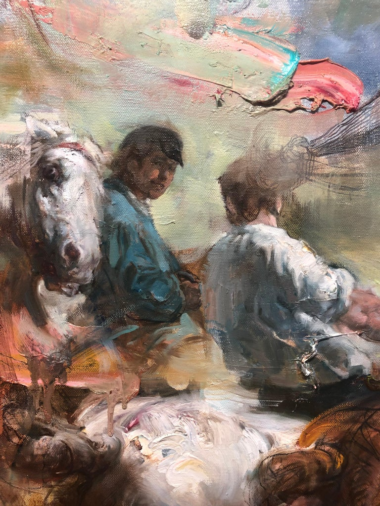 Breeze from the Orient, Diptych, Female Figure, Riders on Horseback, Sunflowers - Brown Animal Painting by Victor Wang