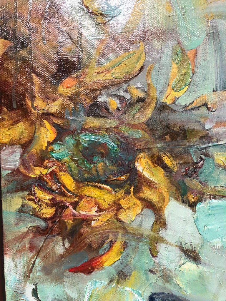 Breeze from the Orient, Diptych, Female Figure, Riders on Horseback, Sunflowers For Sale 4