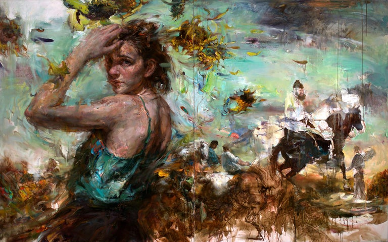 Victor Wang Animal Painting - Breeze from the Orient, Diptych, Female Figure, Riders on Horseback, Sunflowers