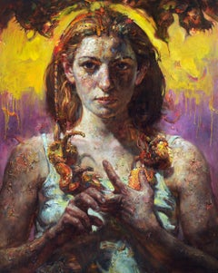 Purple Sky, Contemporary Figurative Portrait Oil Painting on Stretched Canvas