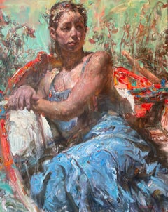 Red Boat - Woman in a Blue Dress Reclining in Boat, Highly Textural Oil Painting