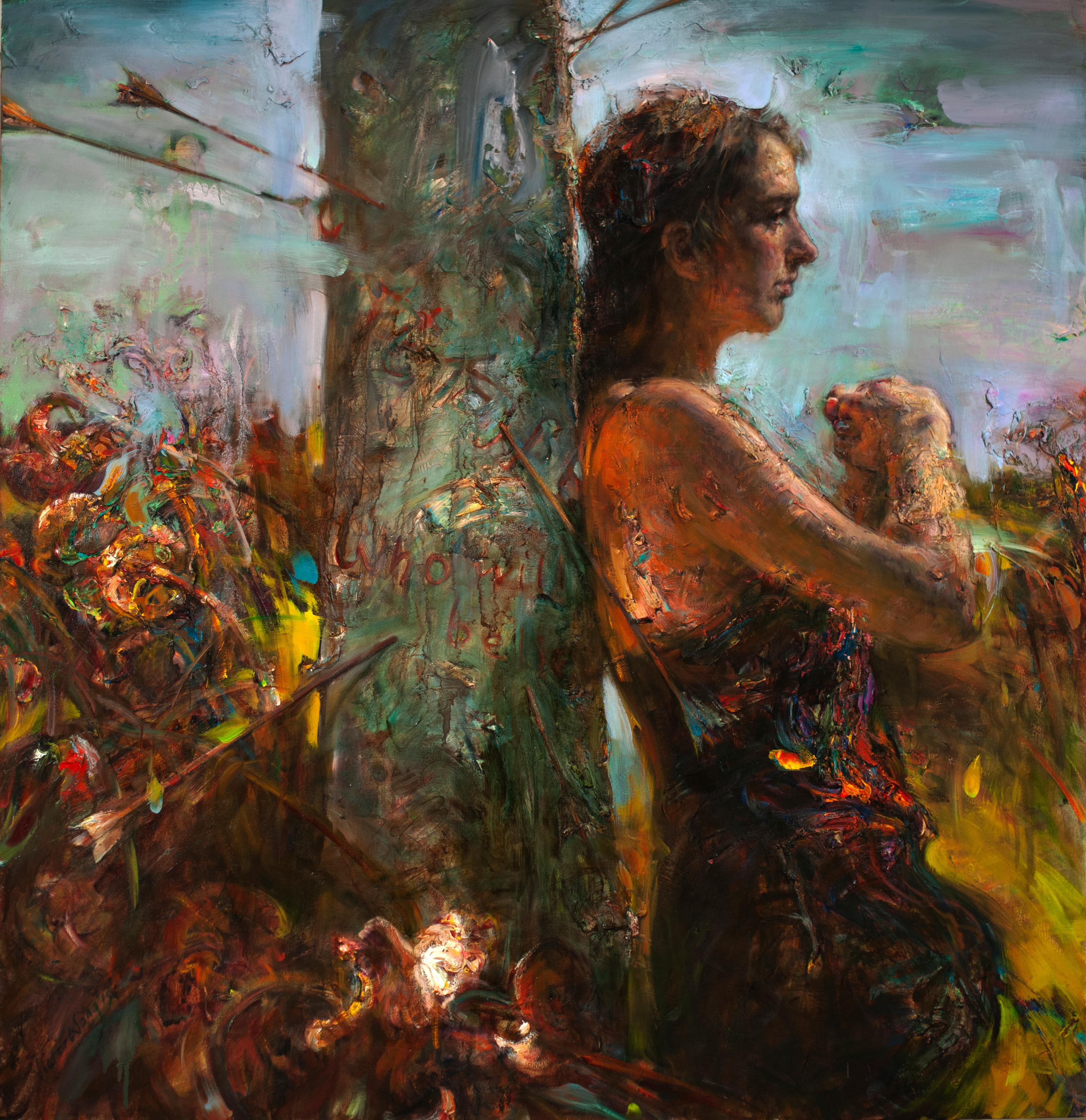 """The Arrowed Pillar"", Contemporary, Oil Painting, Canvas, Figurative, Portrait"
