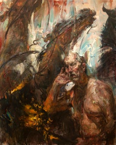 """""""The Whisperer"""", Contemporary, Figurative, Oil Painting, Canvas, Horses"""
