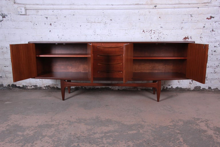 British Victor Wilkins for G-Plan Danish Modern Teak Long Credenza, Newly Refinished For Sale