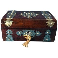 Victoria 1870 Brass Bound Burr Walnut Jewelry Box