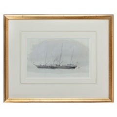 'Victoria and Albert a lovely vessel' Watercolor Royal yacht by Harold Wyllie