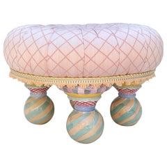 Victoria and Richard Mackenzie Childs Ottoman Tuffet Pink Foot Vanity Stool Pouf