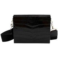 Victoria Beckham Black Glossy Alligator Large Show Box