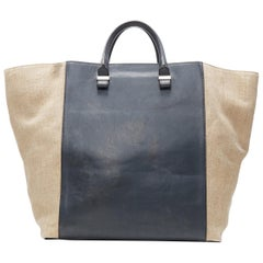 VICTORIA BECKHAM black leather beige canvas flared side large casual tote bag